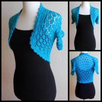 Teal Lace Shrug Bolero by StrangeKnits