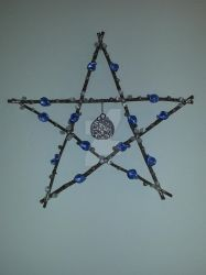 Blue and White Beaded Wooden Wired Pentagram by TheCraftyMaiden