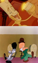 Lumiere laughs at Bugs and Elmer's Cossack Dance by jacobyel