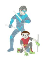Nightwing and Robin by Shellquake