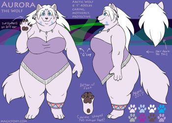 Aurora the Wolf Ref Sheet Clothed version by PudgeyRedFox
