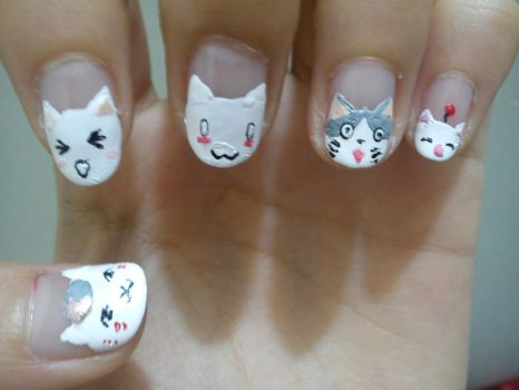 Various Cats Nail Art by Himeno-Bara