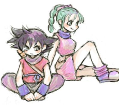 Son Goku and Bulma by nora3l