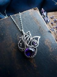 Amethyst wings pendant by UrsulaJewelry