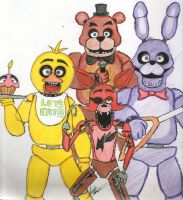 Five Nights At Freddys *Traditional* 1st Try by XxJadeSilver