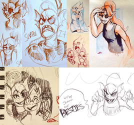 Undyne And Alphys Doodles by MusicalCombusken