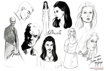 BtVS Sketches: Spike Dru Buffy by MelissaFindley