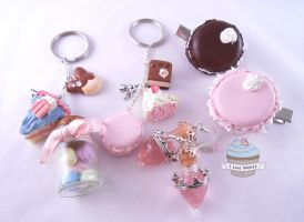 Custom order- Keyrings, hairclips and earrings. by ilikeshiniesfakery