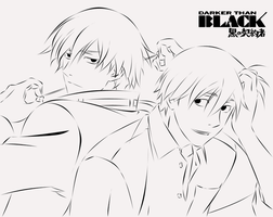 Darker Than Black lineart by Mya90