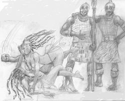 Fight in Fishing Village from The Blood of Titans by werewolfwriter