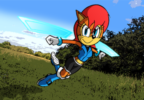 Sally Acorn Leaps with Wrist Blades - Coloured by Big-Al-Son86