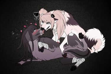 DR/SDR2: Junko X Mikan [Gift] by KasaTheDog