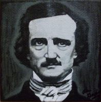 Edgar Allan Poe on mini canvas by TinyAna