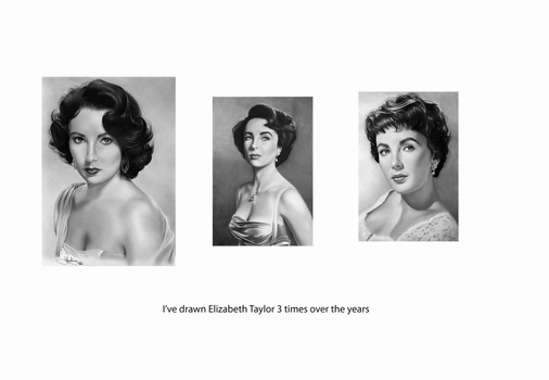 Elizabeth Taylor drawings by Toozies
