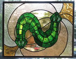 Two Headed Planarian Stained Glass Panel by trilobiteglassworks