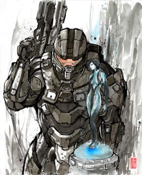 Master Chief and Cortana with sumi and watercolor by MyCKs