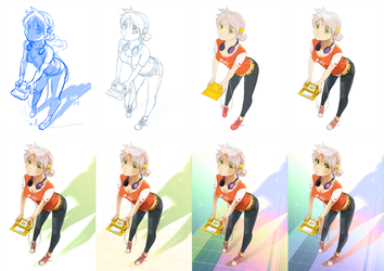 Gamer girl Emily step by step by meago