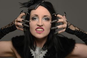 Stock - gothic glamour female woman portrait nails by S-T-A-R-gazer