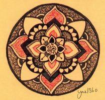 Orange Power Mandala by yael360