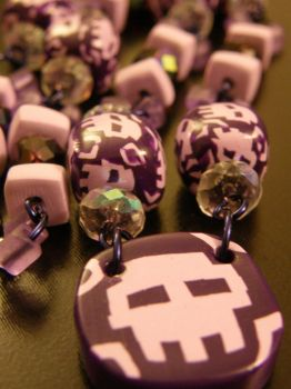 8-bit Skull Necklace by thecraftinista