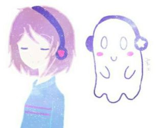 Frisk and Napstablook by Daring-danger-do