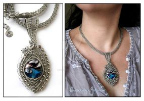 Blue Wave necklace by Faeriedivine