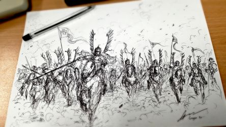 Charge of the Polish Hussars - Sketch Practice by Gambargin