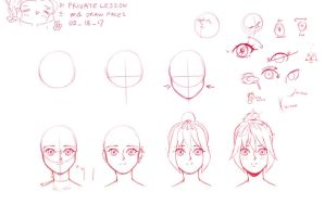 Tutorial : how to draw faces and hair anime style by moyairo