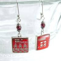 Domed Red Circuit Board and Crystal Earrings by Techcycle