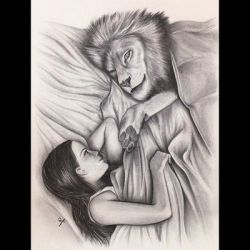 Aslan and Lucy Pevensie by Narniakid