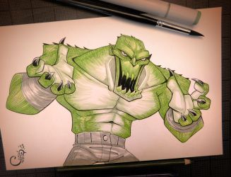 Killer Croc - Inktober Day 10 by Curly-Artist
