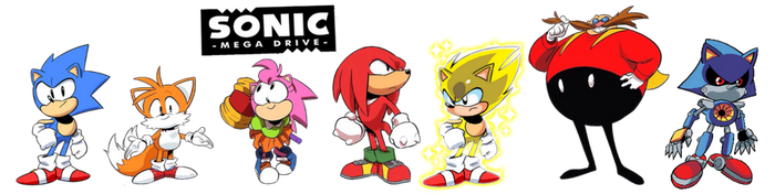 Sonic Mega Drive Main Cast by FrostTheHobidon