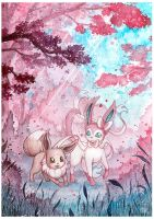 Eevee and Sylveon with cherry blossoms by LizTheFox