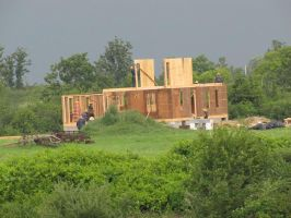An Amish house-raising by Lectrichead