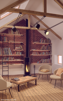 Cosy bibliotheque by potiron02