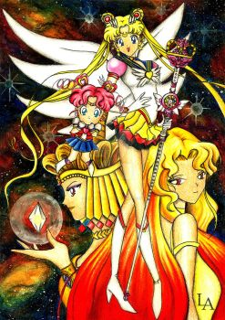 Golden Queen and Sailor Moon Eternal by JanneLawless