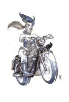 Harley-Riding-a-Harley-gray by StephaneRoux