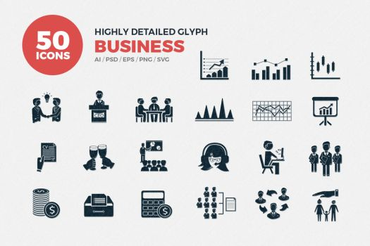 JI-Glyph Business Icons Set by jumboicons