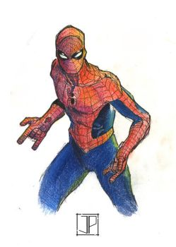 Spider-Man: ink and colored pencil by JPipe