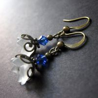 White and Blue Floral Earrings by Gilliauna