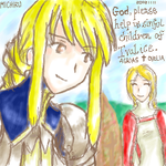 Agrias and Ovelia oekaki by blameshiori