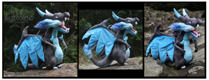 SOLD: Giant Mega Charizard X Custom Plush by Nazegoreng