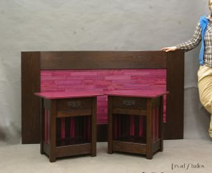 Purple Heartwood Stands and headboard by DryadStudios