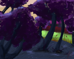 Environment Speedpaint- Forest of Violet by Goblin-Queenie