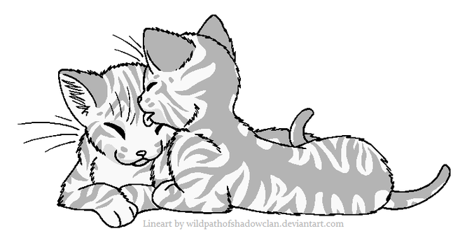 Sharing Tongues Tabby Lineart by WildpathOfShadowClan