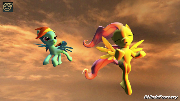 [SFM] Fluttershy and Rainbow Dash In The Sky by BelindaFourbery