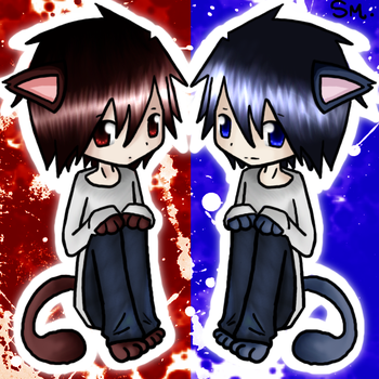 Neko L and BB Colored by xBeyondBirthday