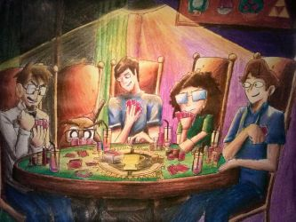 The Game Theorists playing a Card Game. by Burdrehnar