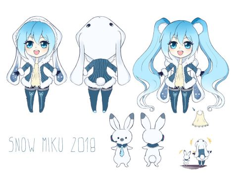 Snow Miku 2019: Snow Rabbit by Klimene