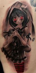 sad girl with rabit by Remistattoo